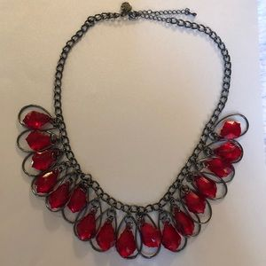 Jewelry - Sparkly red beaded necklace on dark pewter chain